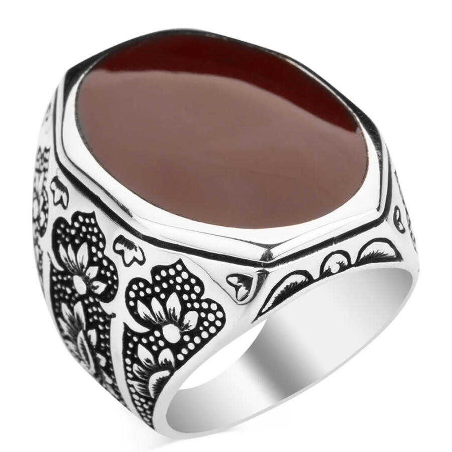 Anniversary Men Gifts Valentine Days Gifts Men Silver Warrior Themed Ring Rectangle Claret Red Agate Gemstone Men Ring Art Deco Ring